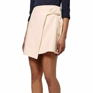 Topshop Cream Faux Wrap Tie Waist skirt 6